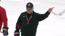 Dale Hunter gestures while at a training canp day in Oakville, Ont. on Monday, Dec. 9, 2019. (Source: TSN)