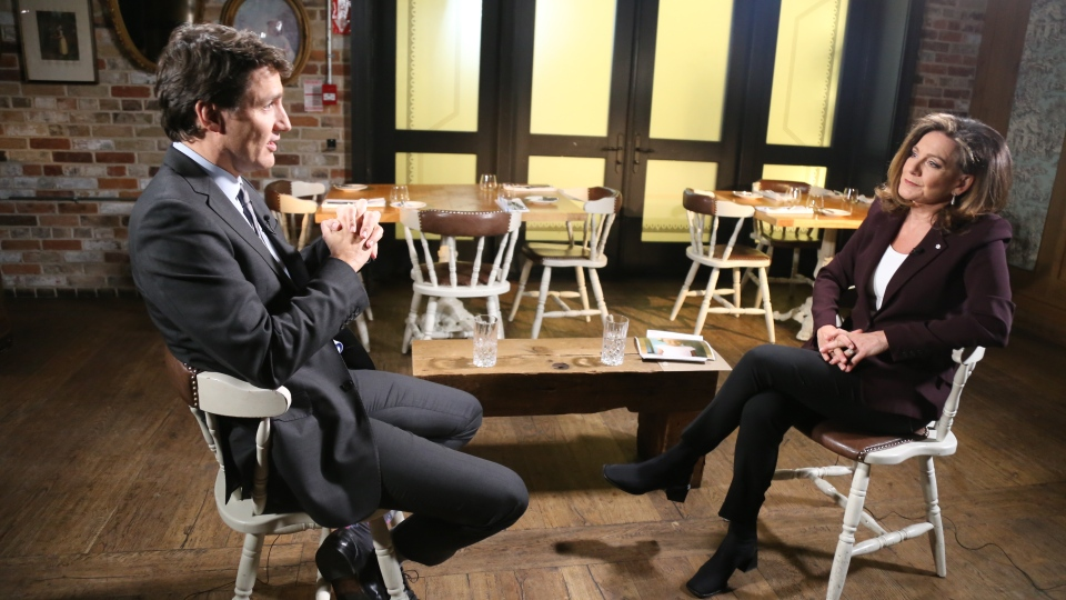 Prime Minister Justin Trudeau speaks during a one-on-one interview with CTV News Chief Anchor Lisa LaFlamme.