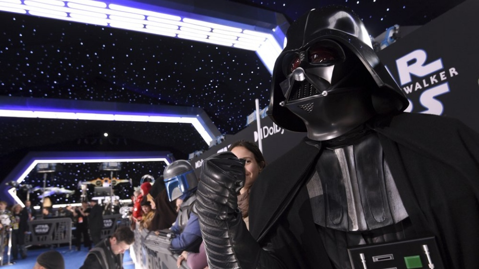 Roberto Gomez, of Puerto Rico, dressed as Darth Vader, attends the world premiere of