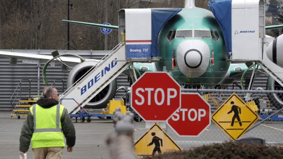 A 737 MAX jet in Renton, Wash.