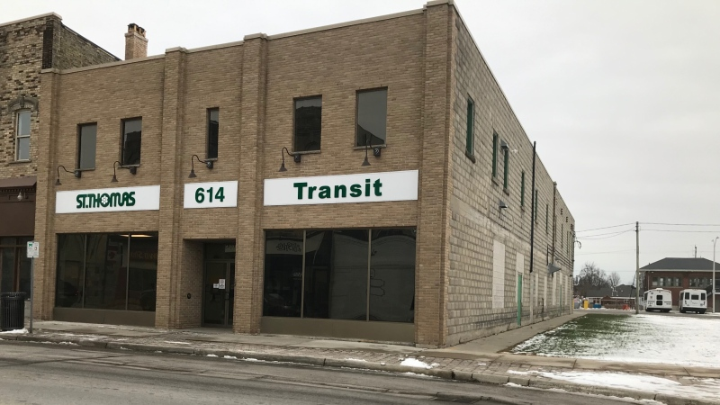 Small buses are parked behind the headquarters for local transit in St. Thomas, Ont. on Tuesday, Dec., 17, 2019. (Sean Irvine / CTV London)