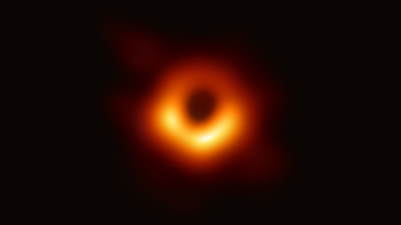 The first-ever image of a black hole, seen here, was revealed by the Event Horizon Telescope Collaboration on April 10, 2019. (Credit: Event Horizon Telescope Collaboration)