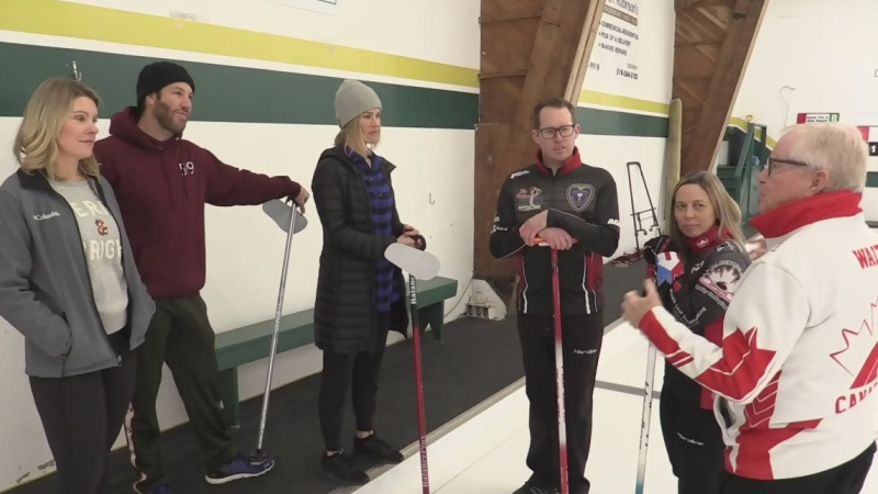 From left, Julie Atchison, Brandon Prust, Sacha Long, Scott McDonald, Kim Tuck and Jim Waite discuss curling in London, Ont. on Tuesday, Dec. 17, 2019. (Brent Lale / CTV London)