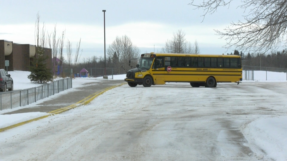 A Spruce Grove bus driver was arrested and fired after being found drunk behind the wheel as students got on the bus on Monday, Dec. 16, 2019. (CTV News Edmonton)