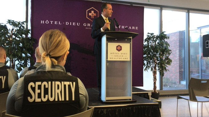 Bill Marra, HDGH's VP of external affairs, announces the security team will be in-house in Windsor, Dec. 12, 2019. (Angelo Aversa / CTV Windsor)