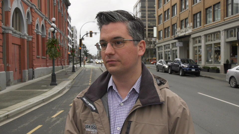 Greater Victoria Cycling Coalition infrastructure chair Corey Burger says that data shows bike lanes can protect the health of riders and pedestrians from air pollution. (CTV News)