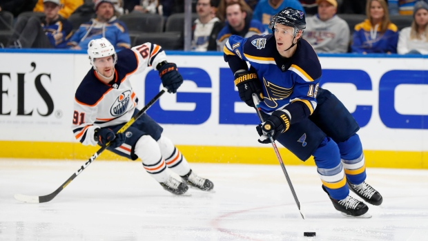 St. Louis Blues defenceman Jay Bouwmeester collapses on bench