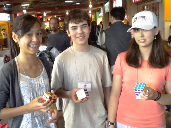 Winners of Saturday�s main event from left to right: Deseree Aune (10.38 seconds, second place), Ibrahim Vajgel-Shedid (9.56 seconds, first place) and Sarah Strong (10.21 seconds, third place). September 12, 2009. (Vince Yim)