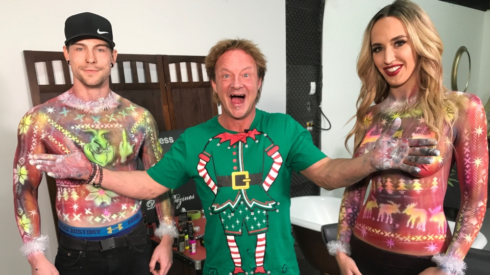Ugly Christmas sweater body paint