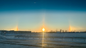 The sun dog as seen near Innes and Mer Bleue roads at 8 a.m. on Thursday, Dec. 19, 2019. (Marshall Clark/CTV Viewer)
