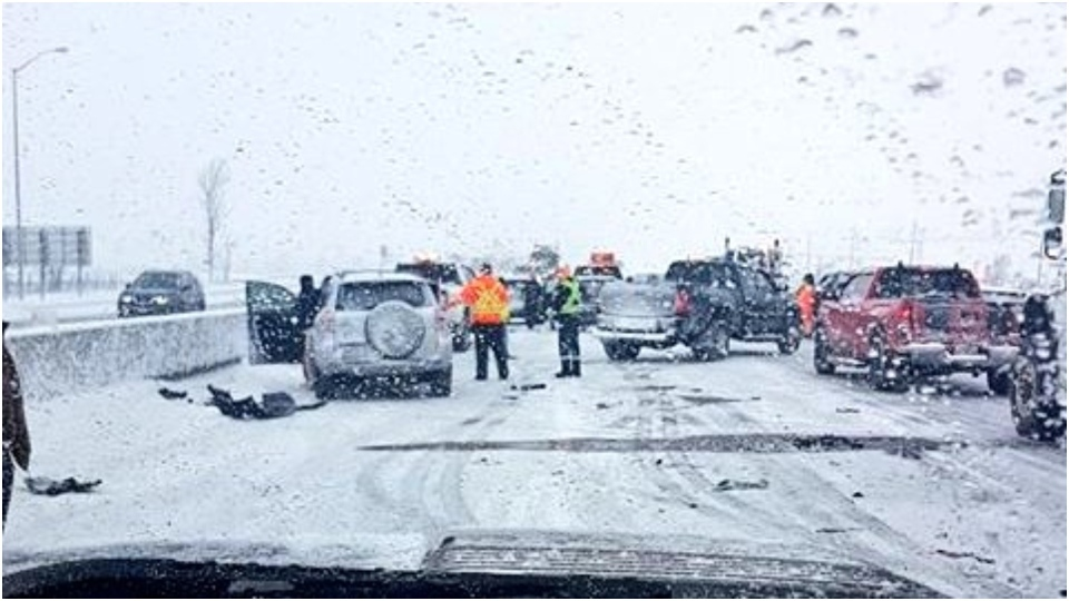 Ontario Provincial Police say that a portion of Highway 400 near Barrie has reopened following collisions which involved some 50 vehicles. (Twitter/Sgt.KerrySchmidt)