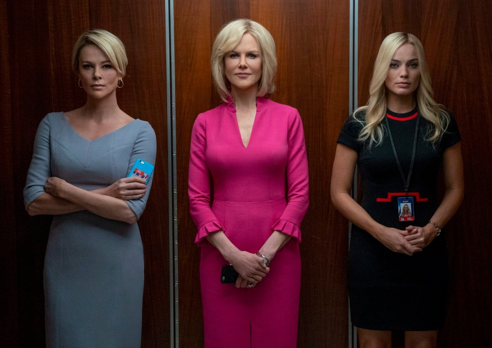 This image released by Lionsgate shows Charlize Theron, from left, Nicole Kidman and Margot Robbie in a scene from 'Bombshell.' (Hilary B. Gayle/Lionsgate via AP)
