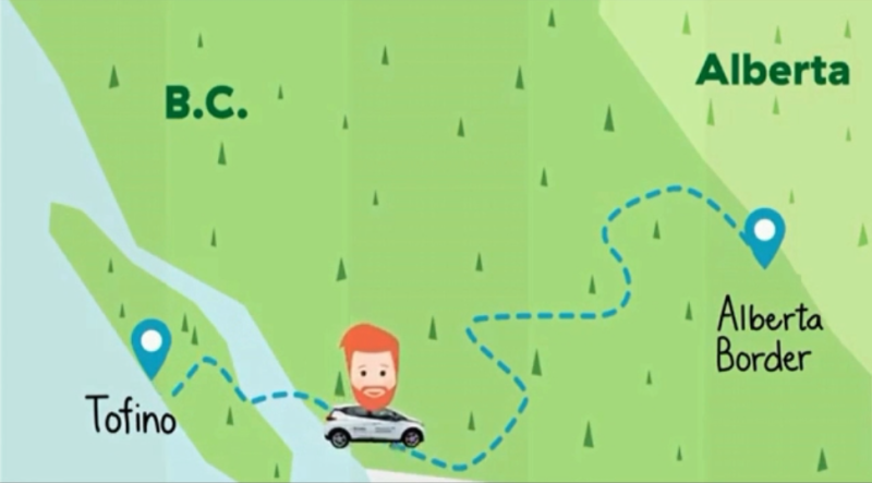 An ad produced by BC Hydro tracked a man named Dave as he drove across B.C. in an electric vehicle, but FOI documents show quite a bit of fossil fuel consumption happened while the ad was being shot. (BC Hydro)