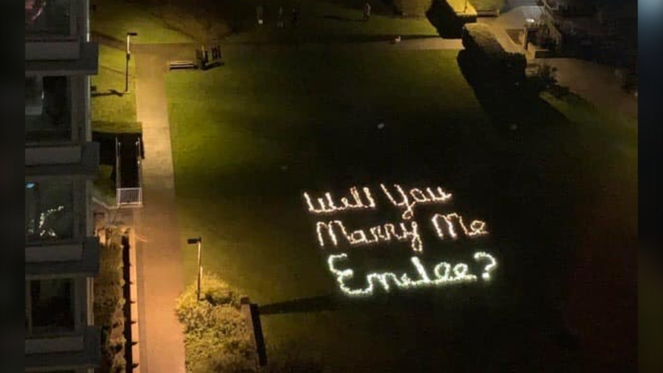 "When a photo of a Vancouver park with the words ""Will you marry me Emilee?"" spelled out in Christmas lights was posted to Reddit on Tuesday night, the internet needed to know:  who is Emilee? And, more importantly, did she say yes? (Emilee Moore/Facebook)"