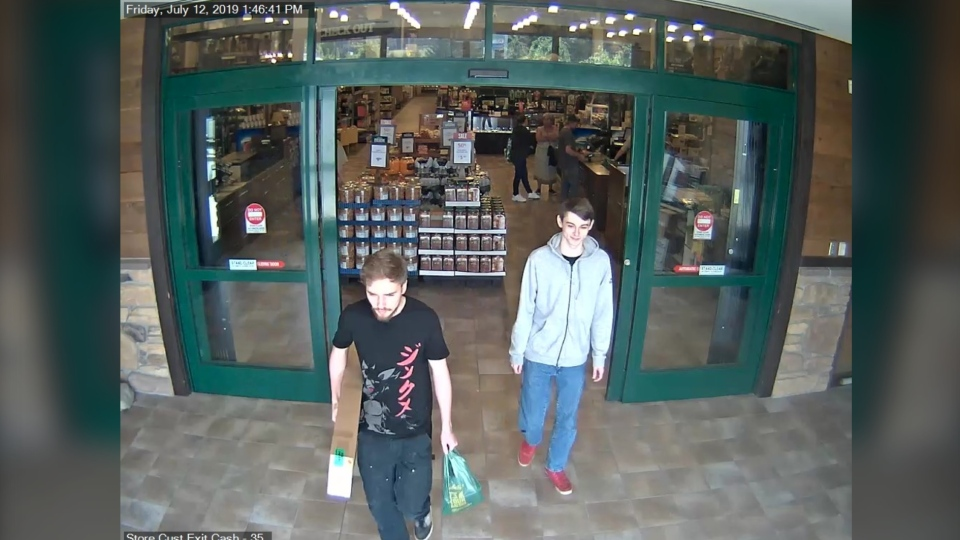 A new image from the warrant applications obtained by CTV News shows Kam McLeod and Bryer Schmegelsky walking out of Cabela's on July 12 when they were said to have bought a gun.
