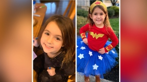 Isla Glaser, 4, of Franklin Township, NJ, is being hailed as a hero after saving her mom during a medical emergency. (Franklin Township Police)