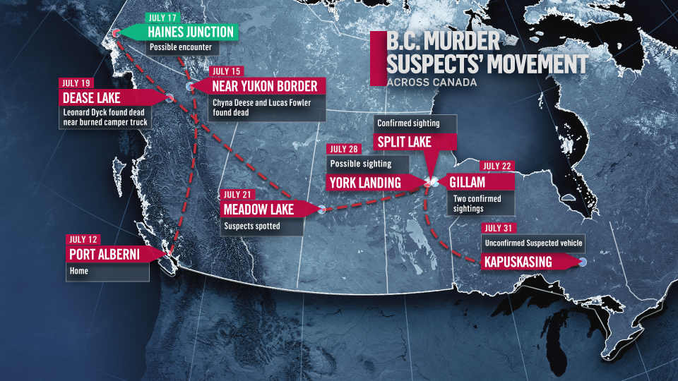 B.C. murder suspects movement across Canada.