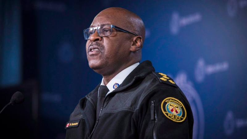 Chief of Police Mark Saunders speaks at Toronto Police Headquarters in Toronto on Monday, October 29, 2018. THE CANADIAN PRESS/ Tijana Martin