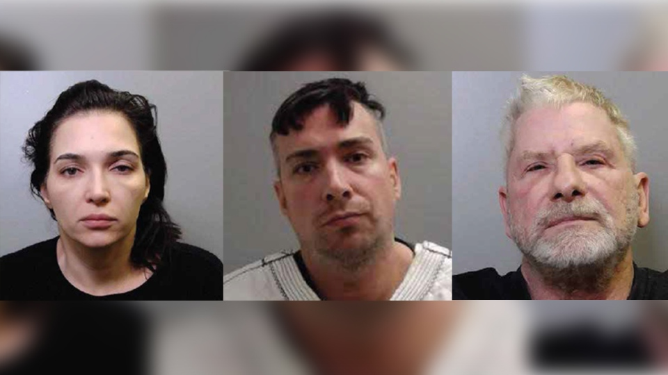 From left, Habiba Kajan, Dejan Markivic and Gordon Baird were among those arrested as part of Project Hobart. (Source: OPP)