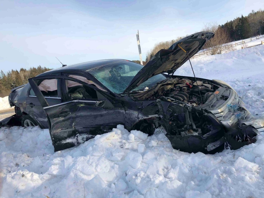Car involved in collision with train