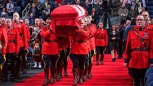 A regimental funeral was held Friday for Const. Allan Poapst, who died in a car crash Dec. 13, 2019. Photo by Manitoba RCMP/Darcy Finley.