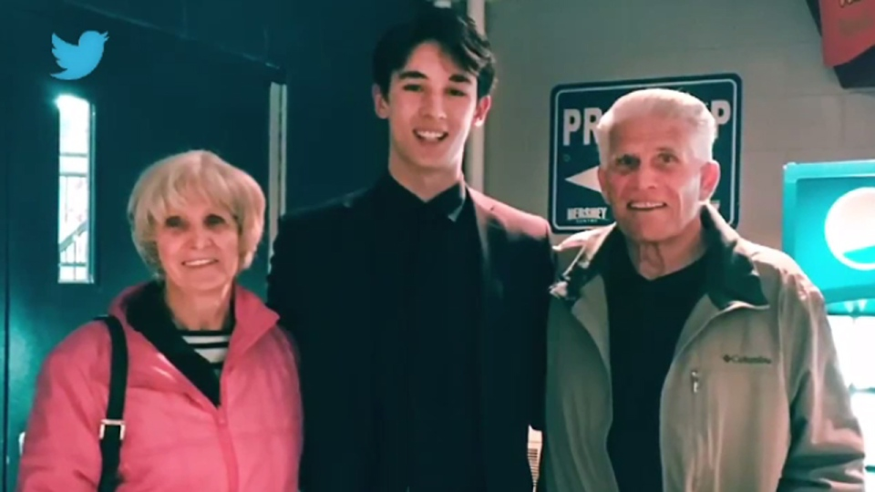 Jacob Ingham poses with his grandparents in this photo from Twitter.