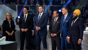 Federal party leaders Green Party leader Elizabeth May, Liberal leader Justin Trudeau, Conservative leader Andrew Scheer, People's Party of Canada leader Maxime Bernier, Bloc Quebecois leader Yves-Francois Blanchet and NDP leader Jagmeet Singh pose for a photograph before the Federal leaders debate in Gatineau, Que. on Monday, October 7, 2019. (THE CANADIAN PRESS/Justin Tang)