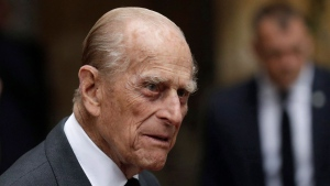 Britain's Prince Philip leaves after attending the funeral service of Patricia Knatchbull, the Countess Mountbatten of Burma at St Paul's Church in Knightsbridge, London, Tuesday, June 27, 2017. (AP Photo/Matt Dunham, Pool)