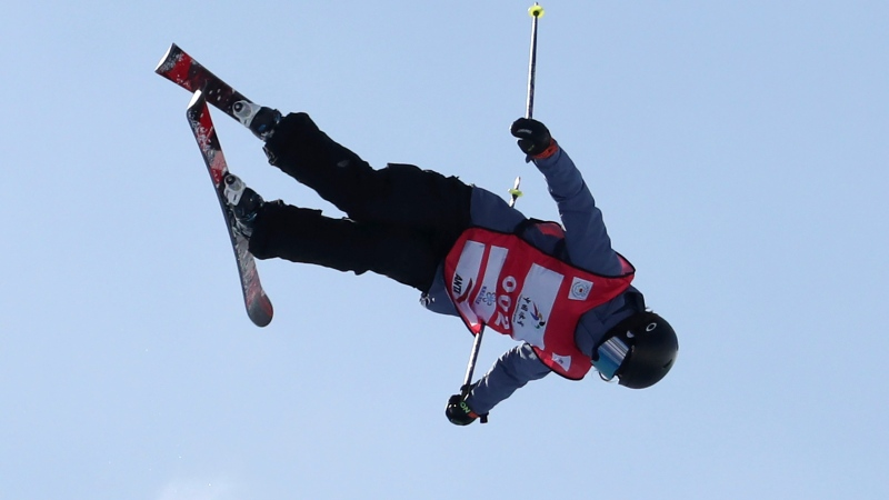 FILE - Silver medalist Canada's Rachael Karker performs in the Women's Freeski Halfpipe event at the FIS Freeski World Cup in Chongli county near Zhangjiakou in northern China's Hebei province Saturday, Dec. 21, 2019. (AP Photo/Ng Han Guan)