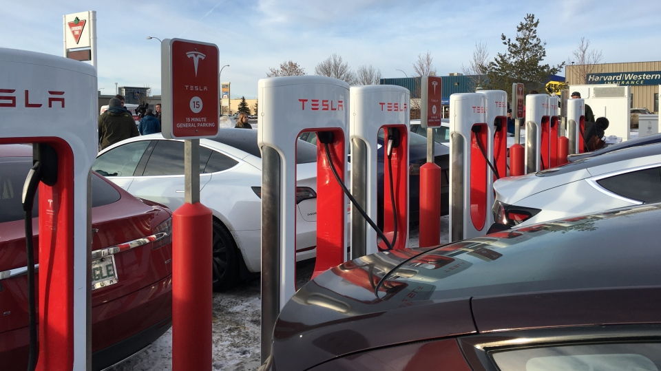 Tesla superchargers were unveiled in Regina on December 21, 2019. (Taylor Rattray/CTV News)