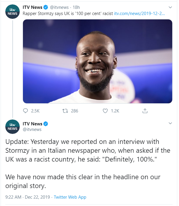 Stormzy says the UK is 'definitely, 100%' racist