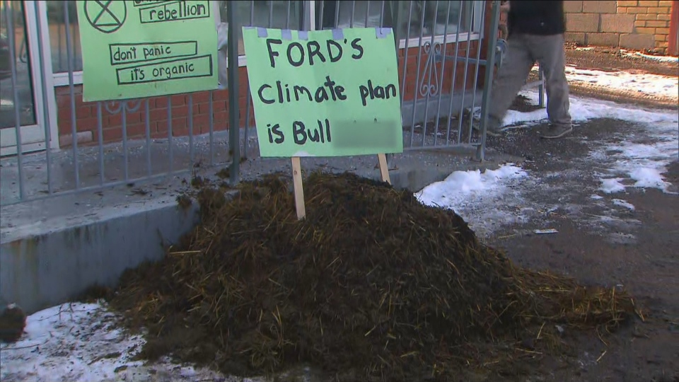 Police were sent to Premier Doug Ford's constituency office after a pile of manure was dumped in front on Dec. 22, 2019.