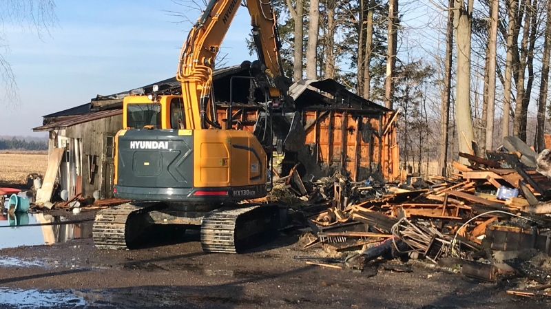The building housing Winter Wheat, a business in Sparta, Ont,. was destroyed by fire on Monday, Dec. 23, 2019. (Sean Irvine / CTV London)