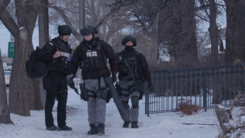 A picture from video shared by the Winnipeg Police Service showing a number of raids that took place in Winnipeg, rural Manitoba and Ontario as a part of Project Highland. (Source: Winnipeg Police Service)