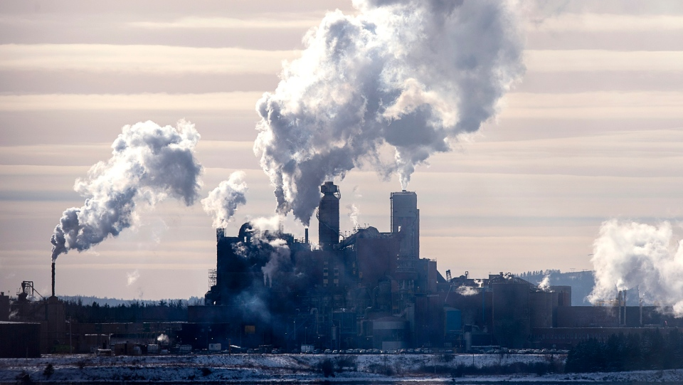 The Northern Pulp mill in Abercrombie Point, N.S., is viewed from Pictou, N.S., Friday, Dec. 13, 2019. (THE CANADIAN PRESS/Andrew Vaughan)