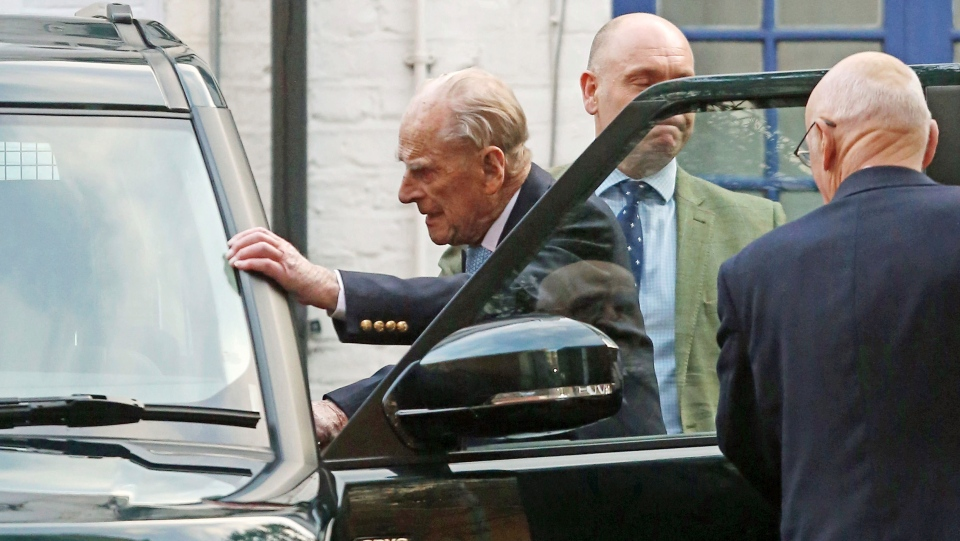 Prince Philip leaves King Edward VII Hospital in London, Tuesday Dec. 24, 2019. (Philip Toscano/PA via AP)