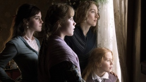 Emma Watson, from left, Florence Pugh, Saoirse Ronan and Eliza Scanlen in a scene from 'Little Women.' (Wilson Webb / Sony Pictures via AP)