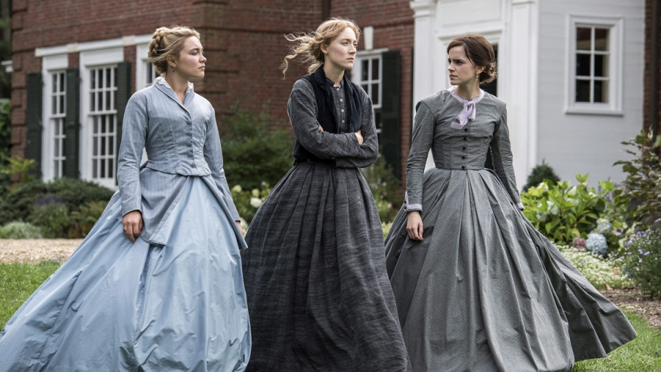 Florence Pugh, Saoirse Ronan and Emma Watson in a scene from 'Little Women.' (Wilson Webb / Sony Pictures via AP)