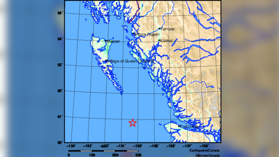 A 4.9-magnitude earthquake was detected 198 kilometres west of Port Hardy, B.C. on Christmas. (Earthquakes Canada)