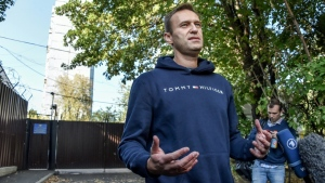 Russian opposition leader Alexei Navalny, pictured in August after leaving a Moscow detention centre (AFP)