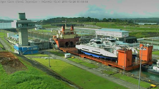 BC Ferries' new hybrid electric ferries are seen aboard the Sun Rise transport ship making their way through the Panama Canal: (BC Ferries)