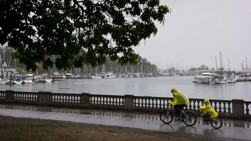 A man reaches to pull up the hood on a poncho as he and a child ride a tandem bike along the Stanley Park seawall during a rain storm in Vancouver, B.C. (Darryl Dyck / THE CANADIAN PRESS)