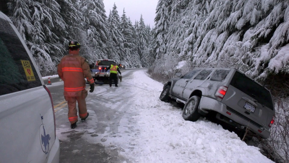 Many families flocked to Mount Seymour Friday morning, but one driver didn't make it to the top after their Nissan Pathfinder somehow swerved into a snowy ditch. (CTV)