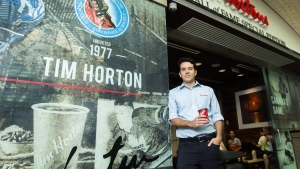 Alex Macedo, president at Tim Hortons poses for a photograph at the Hockey Hall of Fame Tim Hortons location in Toronto on Thursday, August 16, 2018. (THE CANADIAN PRESS/Nathan Denette)