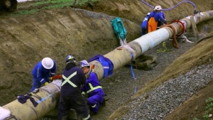 Crews work on the Trans Mountain Pipeline expansion project in this undated file photo.