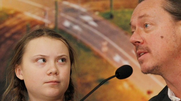In this file photo, Swedish 15-year old climate activist, Greta Thunberg and her father Svante attend a press conference during the Climate Change Conference COP24 in Katowice , Poland, Tuesday, Dec. 4, 2018.(AP Photo/Czarek Sokolowski)