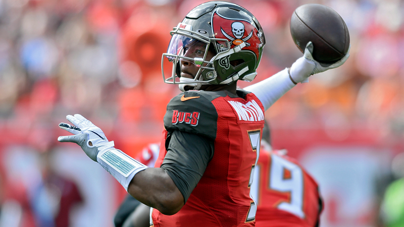 Tampa Bay Buccaneers quarterback Jameis Winston (3) fires a pass against the Atlanta Falcons during the first half of an NFL football game Sunday, Dec. 29, 2019, in Tampa, Fla. (AP  / Jason Behnken)