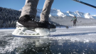Lake Minnewanka is a picturesque setting for anyone to enjoy some skating time, but officials say visitors need to make sure the ice isn't too thin. (File)