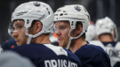 Edmonton Oilers Connor McDavid (97) and Leon Draisaitl (29) take part in training camp in Edmonton on Friday, Sept. 13, 2019. In an off-season of change for the Oilers, the most significant news came last Tuesday when captain Connor McDavid was deemed fit to play in his first exhibition game. (THE CANADIAN PRESS/Jason Franson)