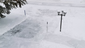 Sam says he woke up early to shovel his driveway, but noticed that someone had already done it for him.